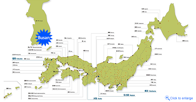 Directly connected to 60 ports in Japan